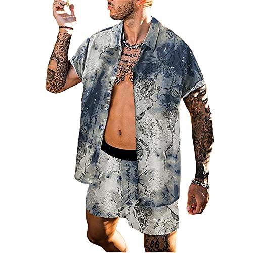 Zytyeu Manica Corta Uomo vestibilità Regolare Abbottonatura Allacciatura Uomo Shirt Estate Splicing personalità Stampa Uomo Spiaggia Set Vintage Hawaii Tendenza Uomo Shirts Pantaloncini