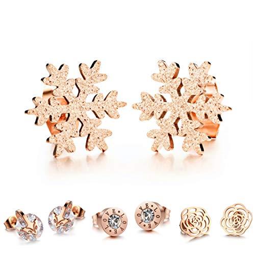 Kim Johanson Damen Ohrringe *15 Designs* aus Edelstahl in Roségold mit Zirkonia Steinchen oder Perlmutt besetzt inkl. Schmuckbeutel (Schneeflocke)