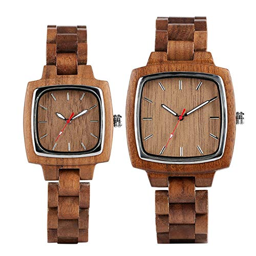 WFE&QFN Hölzerne Uhr Liebhaber Uhren Quarzuhr Holz Armreif Armbanduhr Kaffee Braun Naturholz Paar Uhr Geschenke für Männer Frauen, Dame und Mann