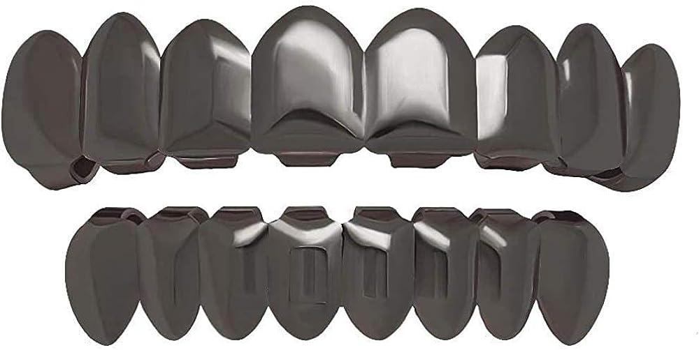 canjoyn 8 Teeth Grillz 18K Gold Top and Bottom Grills Set Shiny Hip Hop Teeth Grillz + Extra Molding Bars