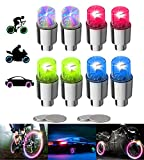 YUERWOVER 8 tappi per valvole a LED, per bicicletta, auto, moto o camion con 10 batterie aggiuntive (multicolore)