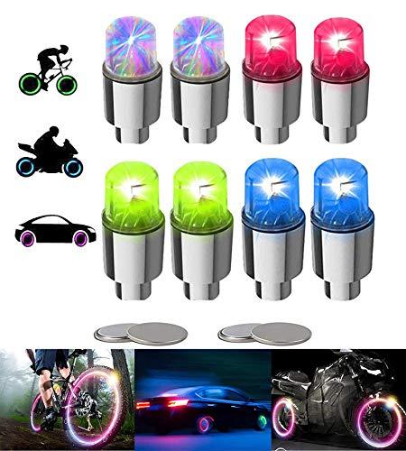 YUERWOVER 8 tapones de válvula LED para bicicleta, iluminación de radios de bicicleta, accesorios para coche, moto o camión, con 10 pilas adicionales (multicolor)