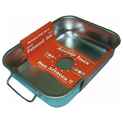 steel pan SP11161 Plat RECTANGULAIRE INOX, Acier Inoxydable, Argent, 30 x 22 x 17 cm