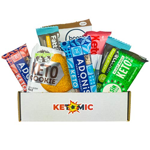 Ketomic, Keto high Protein Snack bar Hamper Box containing Healthy Snacks, Protein Bars, Balls and Bites for Weight Loss and Followers of a Keto Low carb and Low Sugar Diet, Great for Keto Gifts