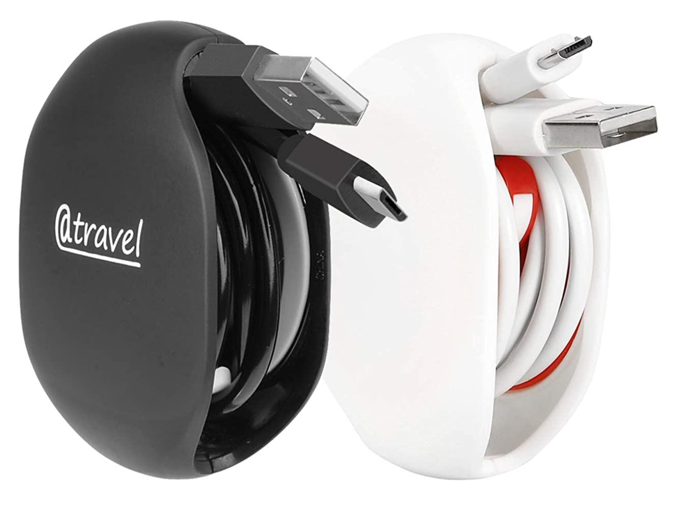 Portable Cord Master Solution for in-Ear Headphones, Earbuds, Cord, Wire, Automatic Cord Manager Combination, Multifunctional Organizer for Protection & Carry (Black+White)