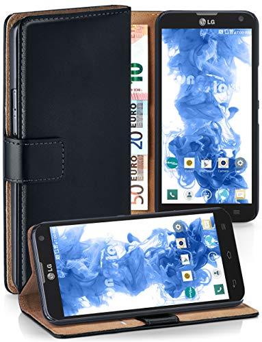 MoEx Funda Cartera [protección 360°] Compatible con LG D605 Optimus L9 II | Cierre magnético, Noir
