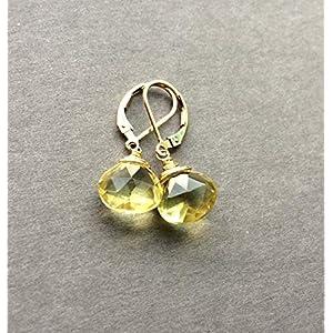 14k Gold Lemon Quartz Leverbacks Earrings, Yellow Gemstones