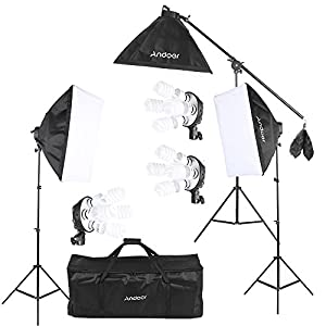 Andoer Softbox Kit de Iluminación para Photo Studio Video, (12)Bombilla 45W (Equivalente a 2400W), (3)Portalámparas 4-en-1, (3)Softbox, (3)Light Stand 200cm, (1)Barra de brazo de suspensión (1)Bolsa