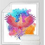 FEJK Bettwäsche Outlet Phoenix Nirvana Decken Für Betten Vogel Plüsch Tagesdecke Aquarell Decke Bunte 150 * 180 cm