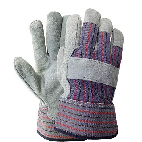 Leather Work Gloves, Gardening Gloves, Size Large, Gray Leather, Red White Blue Canvas, 12 Pairs