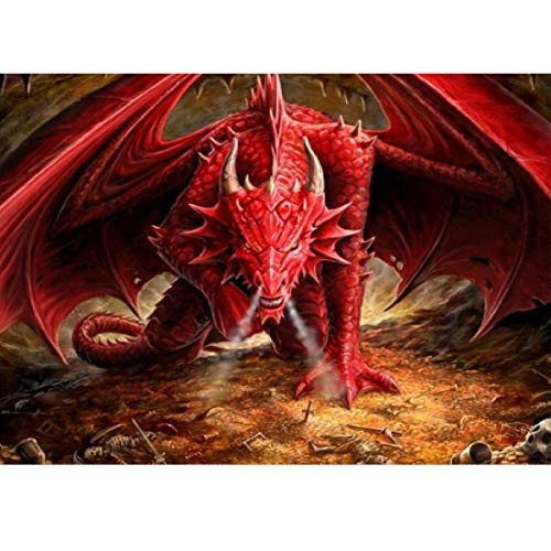 MXJSUA DIY 5D Diamant Malerei Volle Runde Bohrer Kit Strass Bild Kunsthandwerk für Hauptwanddekor 30x40 cm Red Dragon