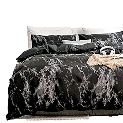 Duvet Cover Queen, Black Duvet Cover Set with Soft and Warm 100% Washed Microfiber, Also as Marble Comforter Cover or Quilt Cover, 3 Piece Bedding Set with Zipper - 90×90 inches (Queen/Full) from Spring Meow