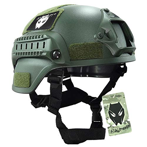 ATAIRSOFT Tactical Airsoft Paintball MICH 2000 Helmet with Side Rail amp NVG Mount OD