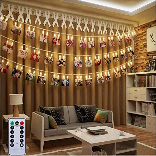 50 LED Photo Clips String Lights 5M Fairy Lights Bedroom USB LED Photo Clip String Polaroid Peg String Lights - Photo Frame Fairy Lights with Pegs for Photos with Remote