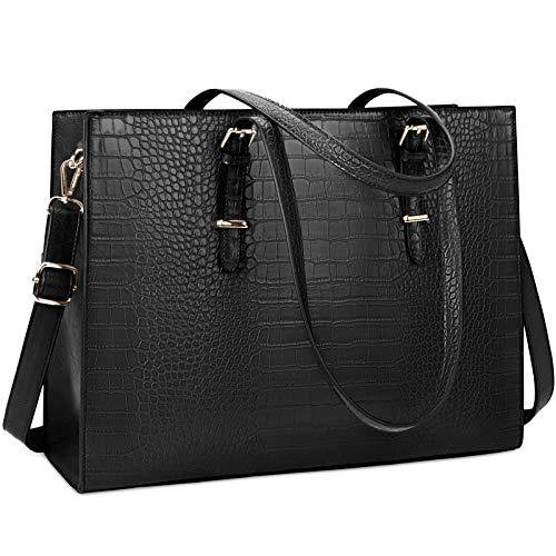 Lubardy Handtasche Damen Shopper Damen Groß Schwarz Laptop Tasche 15.6 Zoll Elegant PU Leder Umhängetasche Arbeitstasche für Business Büro Schule Einkauf Arbeit