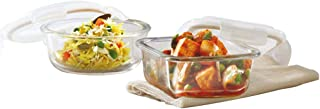 Borosil Klip N Store Glass Food Container, 800Ml Sqr & 950Ml Rnd, for Kitchen Storage with Air Tight Lid - Microwave Safe