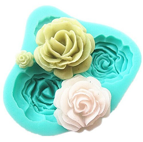 TININNA 3D DIY Silicone Mold Rose Shape Cake Candy Sugar Fondant Decorating Mold Clay Soap Making Mold Tools