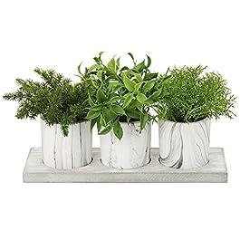 Lot de 3 mini plantes artificielles d'eucalyptus artificielles en pot dans des pots en pâte de marbrure pour la maison…