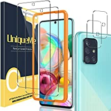 [2+2 Pack] UniqueMe Camera Lens Protector and Screen Protector for Samsung Galaxy A71 4G / 5G,Tempered Glass [Easy Installation Frame] HD Clear [Anti-Scratch] [Bubble Free]