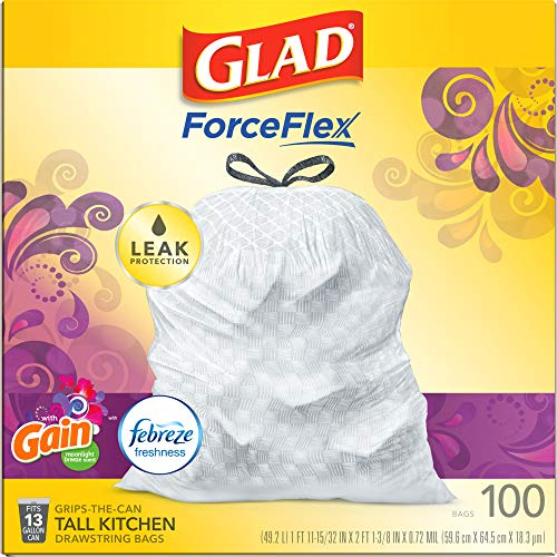 Glad ForceFlex Tall Kitchen Drawstring Trash Bags 13 Gallon White Trash Bag, Gain Moonlight Breeze scent with Febreze Freshness 100 Count (Package May Vary)