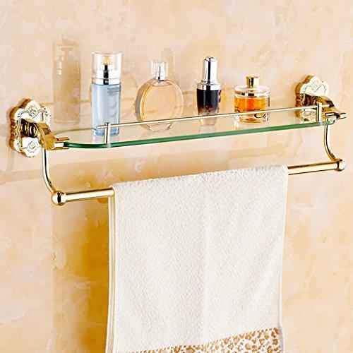 Style Européen Tout Bronze Plaqué Or Sculpté Single Layer Glass Cosmetic Racks Racks de salle de bains/salle de bains