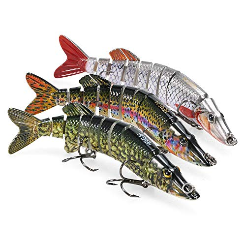 Lixada Señuelo de Pesca, 5 – 12 Pulgadas, Realista Multi-articulado Pike Muskie Swimbait Crankbait Duro Cebo Peces Treble Gancho Tackle, Color 11-12-13, 5inch