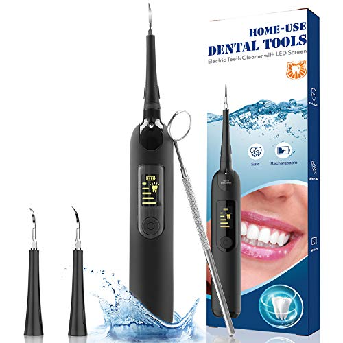 FACGENII Plaque Remover for Teeth, Intelligent Ultrasonic Tooth Cleaner, Cordless Dental Calculus Remover Tartar Stain Remover,5 Modes 2 Clean Heads Teeth Cleaning Kit, IPX6 Waterproof, Low Noise