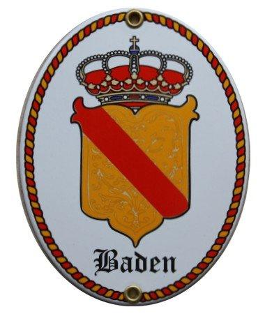 Baden Emaille Schild Badisches Wappenschild 11,5 x 15 cm Emailschild Oval (ohne Holzrahmen)