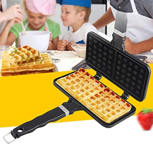 Waffle Hierro Pastel Fabricante de Aleación de Aluminio Agujero Colgante Rectángulo Antiadherente de Cocina DIY Desayuno Hornear Pan Estufa de la Placa de Prensa de la Herramienta de Fabricación