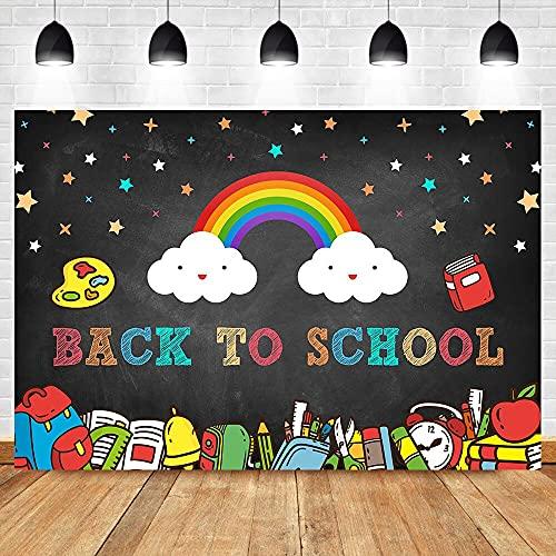 Sfondo arcobaleno nuvole bianche libro di testo zaino fotografia sfondo colorato stelline sfondo A1 10x10ft/3x3m