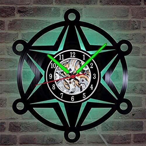 HYRFS Diseño de policía Placa de policía Reloj de Pared con Registro de Vinilo Reloj de Cuarzo LED Luminoso Regalos-LED