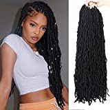 ZRQ 24 Inch New Faux Locs Crochet Hair ,For Butterfly Locs Long 6 Packs Pre-looped Goddess Locs Curly Extended Soft Locs Braiding Hair For Black Women Synthetic Hair Afro Roots 21Strands/Pack 1B#