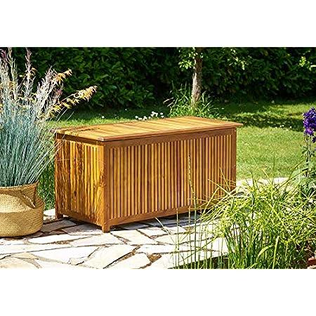 Deuba Coffre boîte de Rangement Jardin 117x50x59cm en Acacia avec bâche intérieure