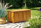 Auflagenbox mit Innenplane - Holztruhe aus Akazienholz 117 cm