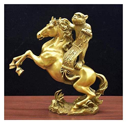 Desktop-Skulptur Affe Tier Statue Bronze Horse Skulptur Block Skulptur Wohnzimmer Dekoration Figuren Puppe Dekoration Kunst Geschenk Feng Shui Dekoration Requisiten