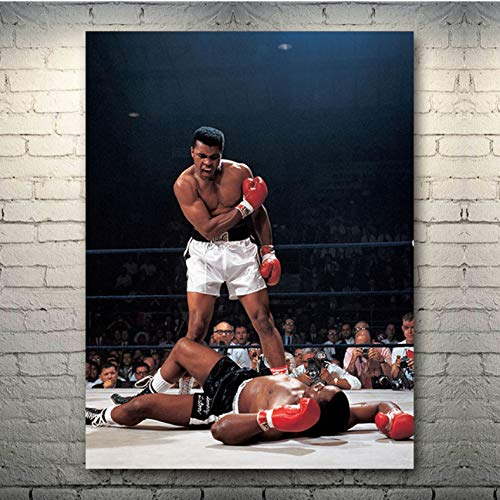 muyichen Druck Auf Leinwand Muhammad Ali-Haj Boxhandschuhe Boxer Art Sample Poster Print Sportbilder Für Schlafzimmer Dekor Rahmenloses Gemälde Ra548 50X70Cm Ohne Rahmen