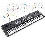 Digital Keyboard Piano Electrónico Piano 61 Teclas Teclado de Piano Portátil Teclado Electrónico Musica Teclado con Micrófono Juguete educativo Regalo para Niño Niña Principiantes