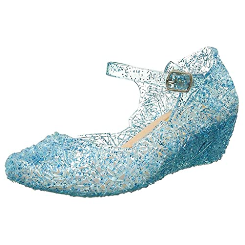 Sandalias para niña, zapatos de verano, zapatos de playa para niños, zapatos de ocio, cuña, zapatos de baño, transpirables, sandalias antideslizantes, princesas, sandalias de cristal, azul, 30
