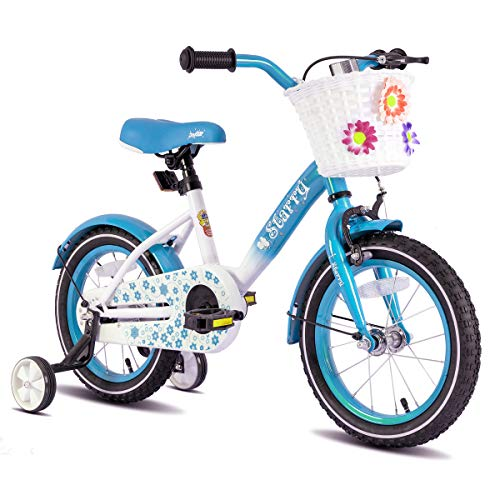 "JOYSTAR 16 Inch Kids Bike with Hand Brake and Basket for 4 5 6 7 Years Girls, 16"" Chilren Bike with Training Wheels and fenders, Blue"