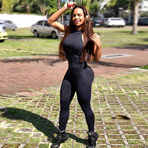 WYGH Sexy Yoga Deportes Mono para Mujer y Dama Backless Sin Mangas Aptitud Gimnasio Corriendo Jumpsuit Bodysuit Clubwear Partido Gimnasio Disfraz Amante Regalo,Black-L