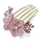 YAZILIND Joyas Elegante Nupcial de la Boda de Estilo Floral Accesorio de Pelo Shinning Cintilante de Cristal Rhinestone Pinzas de Pelo de Peine de Pelo para Las Mujeres Niñas Rosa