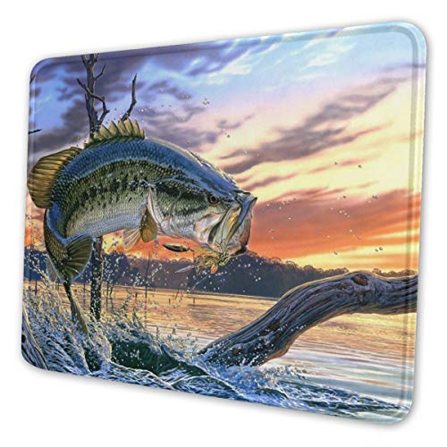 Fishing Bass Mouth Mouse Pad with Stitched Edge, Premium-Textured Mouse Mat, Non-Slip Rubber Base Mousepad for Laptop, Computer & PC, 10.3x8.3x0.03 inch