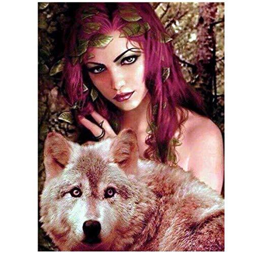 Artaslf 5D - Pintura de diamante para mujer con bordado de punto de cruz y decoración de lobo, 40 x 50 cm, sin marco