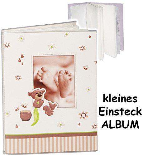 alles-meine.de GmbH kleines Einsteckalbum / Memoalbum / Fotoalbum -  süßer Teddy Bär & Babyfüße  __ Kinderalbum - bis zu 32 Bilder & Fotos - Gebunden zum Einstecken & Eintragen..