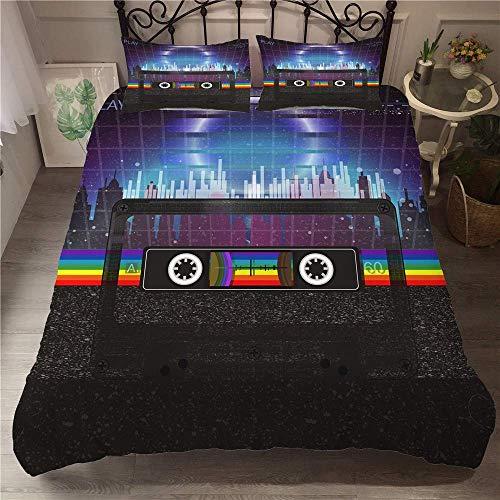 Schlafzimmerzubehör Bettwäsche Bettbezug Set 3D Musik Bettwäsche Bettbezug mit Kissenbezügen für Doppelkönig Einzelbett Mikrofaser 3-teilig Jungen Mädchen Schlafzimmer Bettwäscheset Dreiteiliges Be