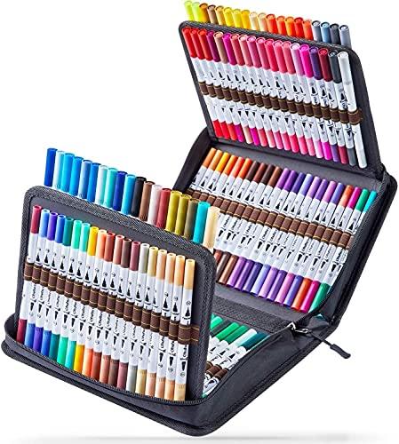 Penne Lettering, 160 Colori, Ohuhu Pennello Doppio da Colorare Pennarelli per Lettering a linea fine, pennarello a base d'acqua per Disegno da delle Progetti d'Arte per Regali di Natale (160 Colori)