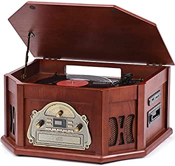 ORCC 10-in-1 Turntable Record Player with Bluetooth Connection CD & Cassette Player AM/FM Radio USB & SD Slot Built-in Stereo Speakers Remote Control