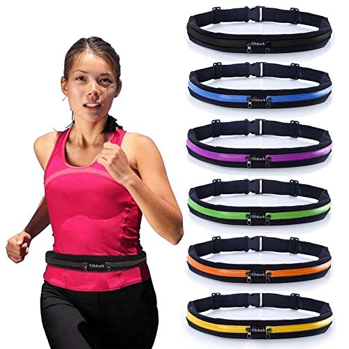 Running Belt Slim Waist Pocket Belt with 2 Expandable Pockets, Sweat Resistant Runners Belt Fanny Pack Mobile Phone Pouch Bag for Hiking Cycling Climbing Jogging and for 6.5 inches Smartphones(Black)