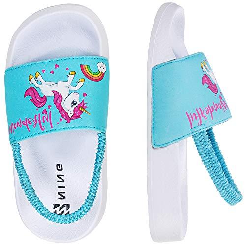 Sandalias Niños Chanclas,Zapatos de Ducha Niña Zapatos de Playa(26/27EU JB-Unicornio-Azul)