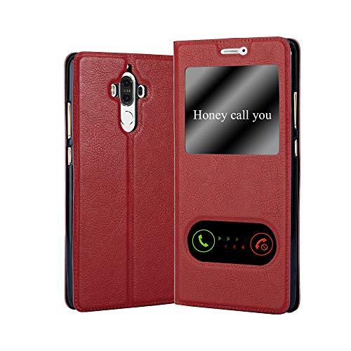 Cadorabo Hülle für Huawei Mate 9 - Hülle in Safran ROT – Handyhülle im Standfunktion & 2 Fenstern (View Design) - Hülle Cover Schutzhülle Etui Tasche Book Klapp Style